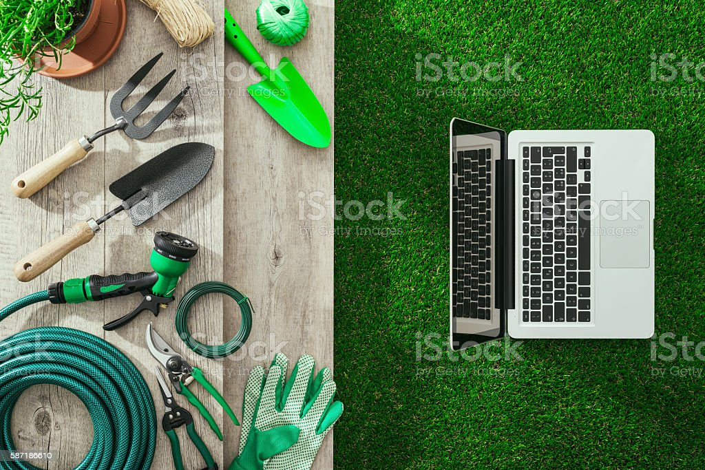 Gardening and technology stock photo