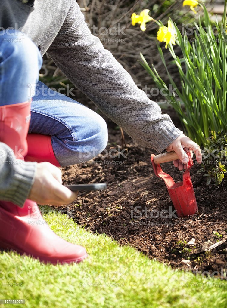 Gardening and using mobile phone royalty-free stock photo