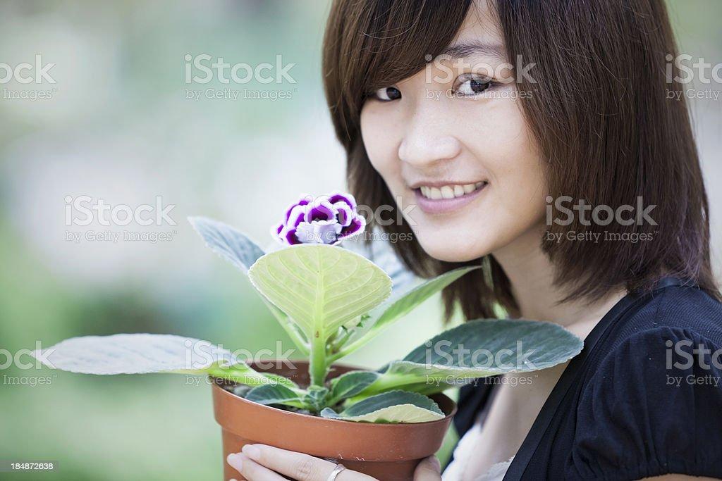 gardening asian woman royalty-free stock photo