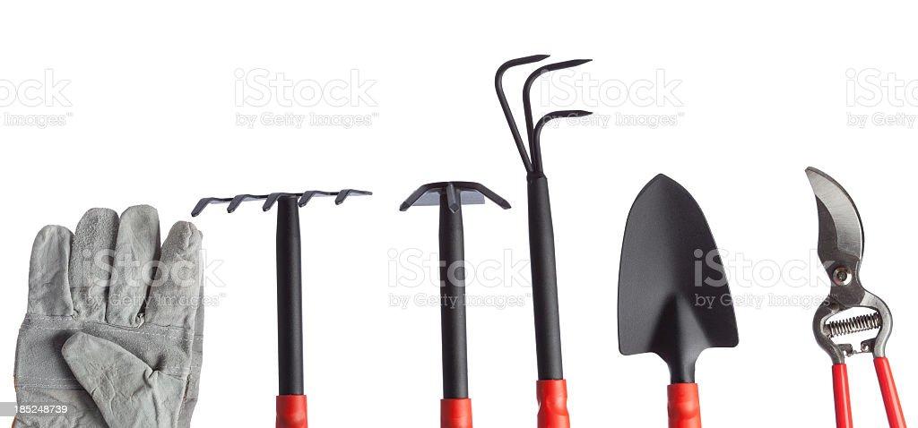 Gardening equipments on white background royalty-free stock photo