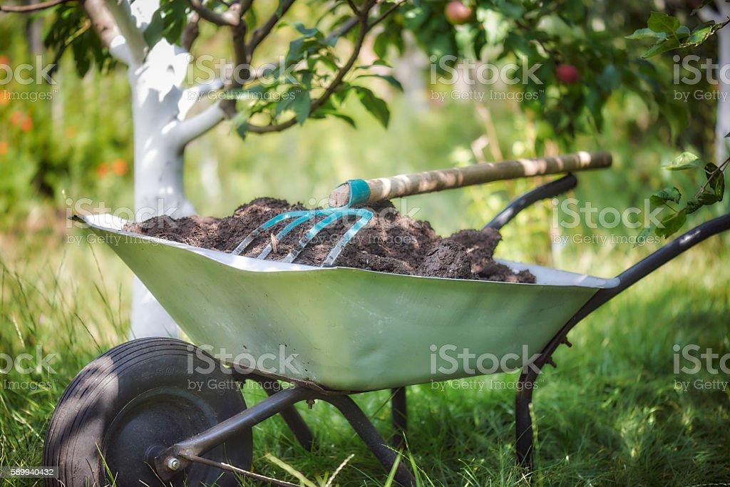 Gardening Fork and Wheelbarrow stock photo