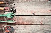 Gardening Hand Tools, Shovel, Rakes, Dirt on Old Wood Background