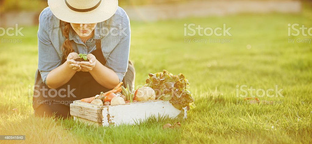 Gardening is a work of heart stock photo