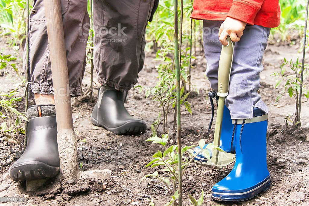 Gardening. Legs of woman and child with gardening tools. royalty-free stock photo