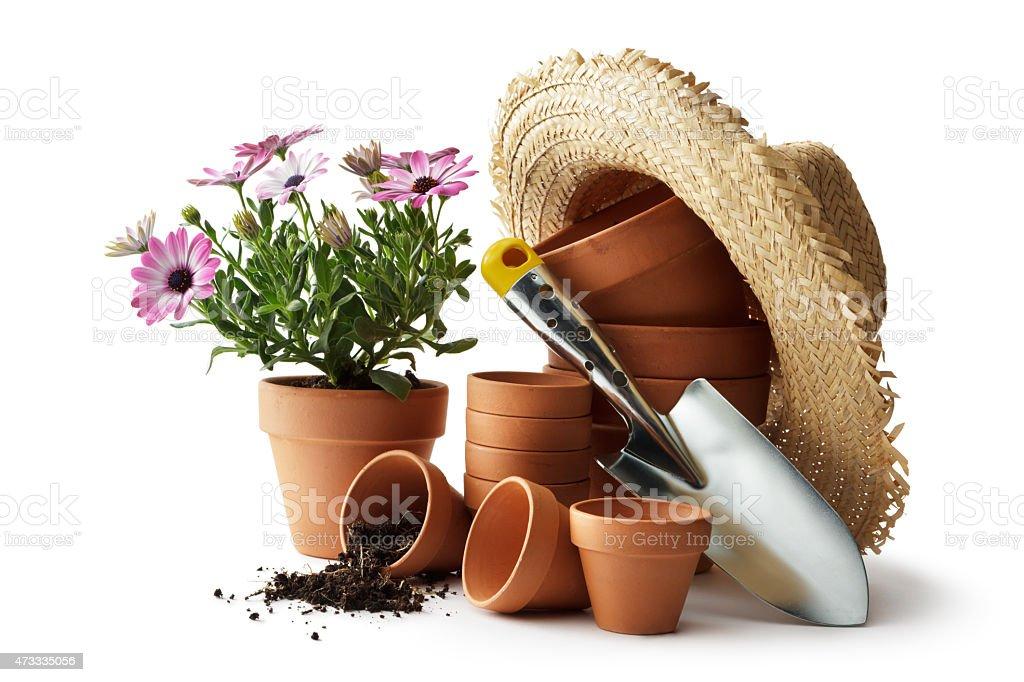 Gardening: Plant Pots, Straw Hat and Shovel stock photo