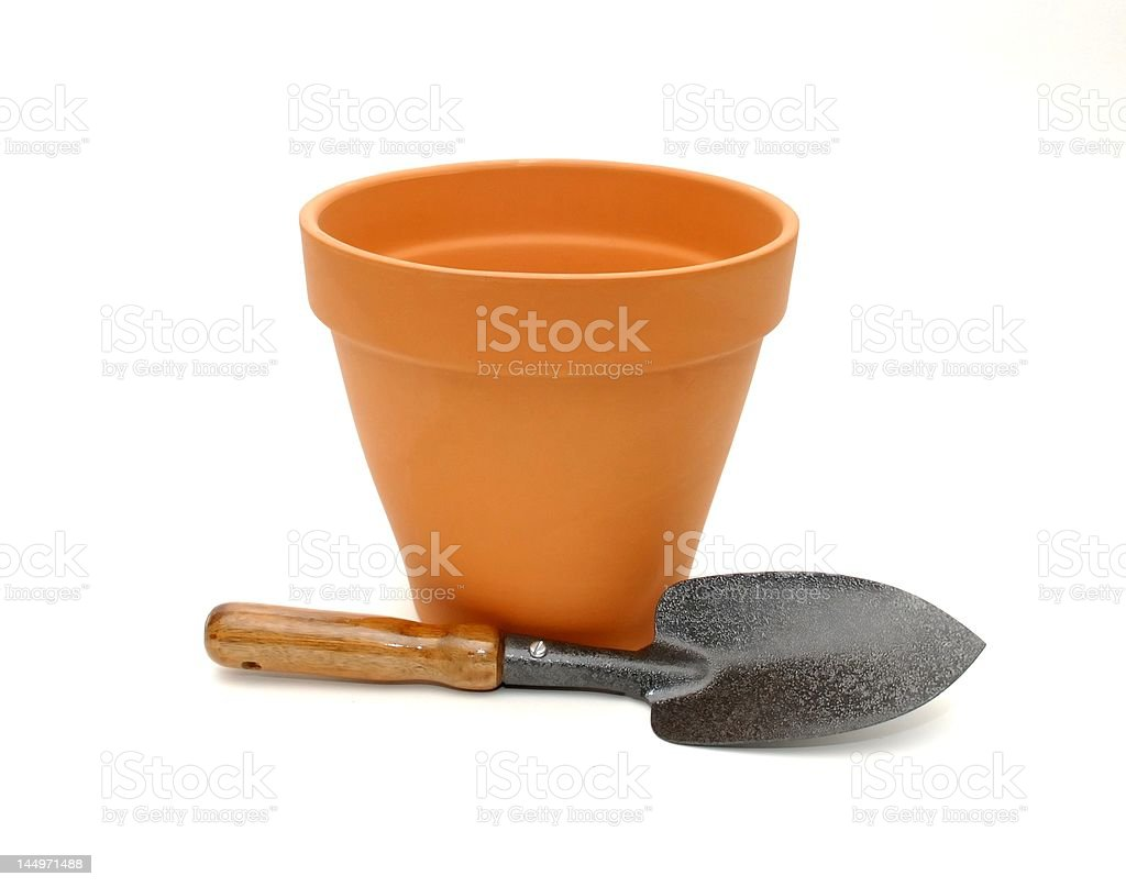 Gardening Pot and Trowel stock photo