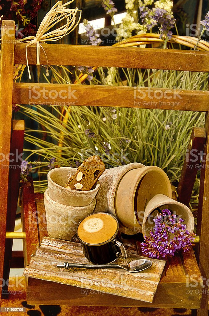 Gardening pots with coffee royalty-free stock photo