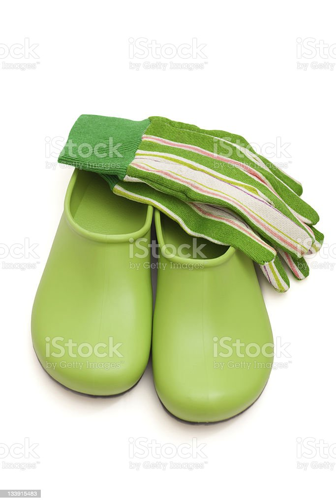 Gardening Shoes and Gloves stock photo
