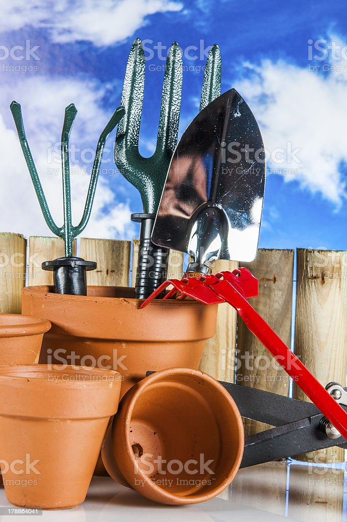 Gardening stuff with vivid rural composition royalty-free stock photo