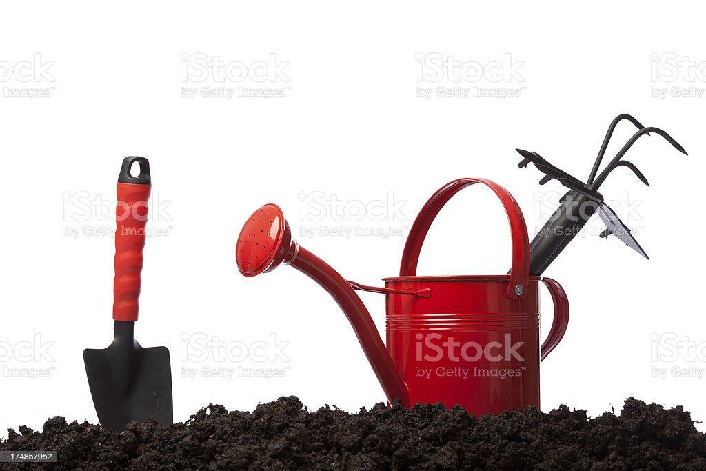 Gardening symbols on white background royalty-free stock photo
