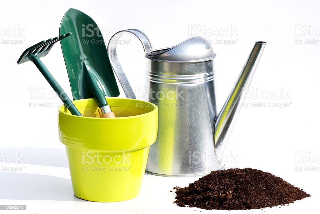 gardening tools and earth stock photo