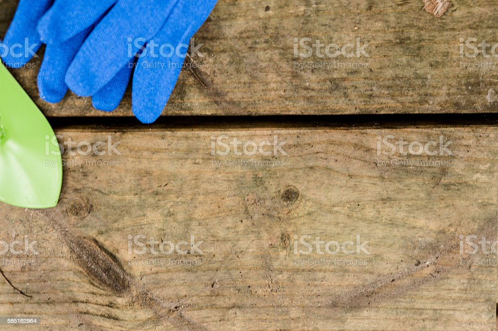 Gardening tools including spade and gloves. stock photo
