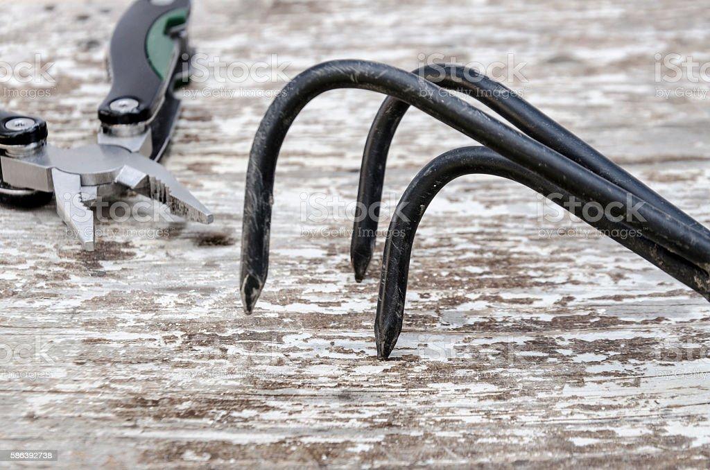 gardening tools - multitool stock photo