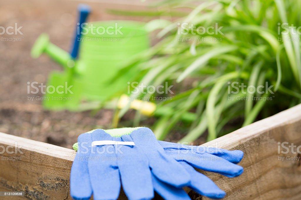 Gardening tools.  Watering can, spade, trowel, gloves.  Garden. stock photo