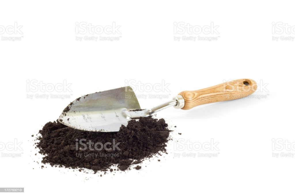 Gardening Trowel and Dirt Isolated royalty-free stock photo