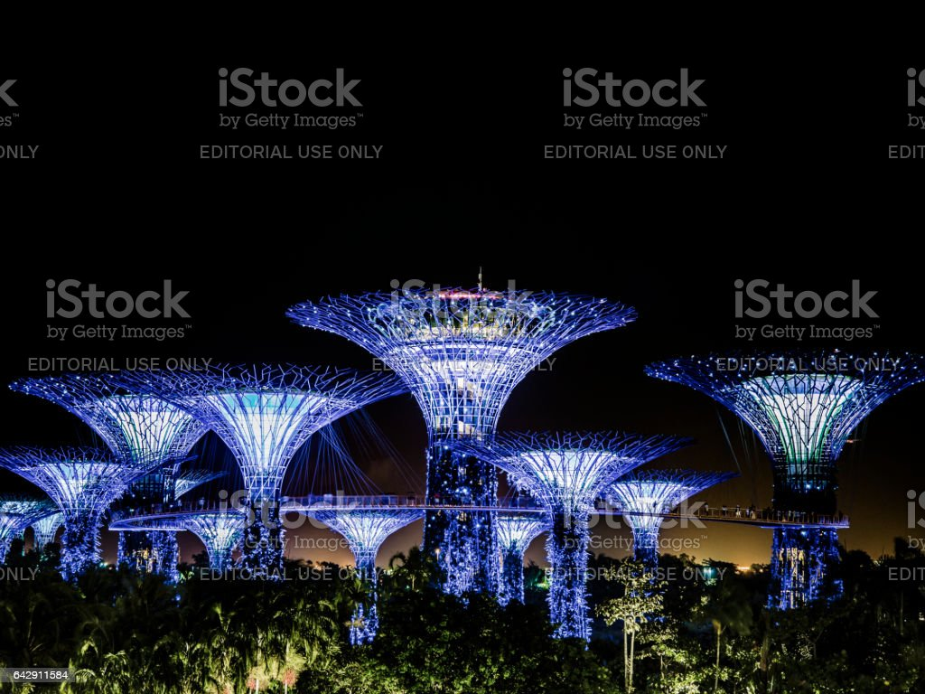 Gardens by the Bay at night Singapore stock photo