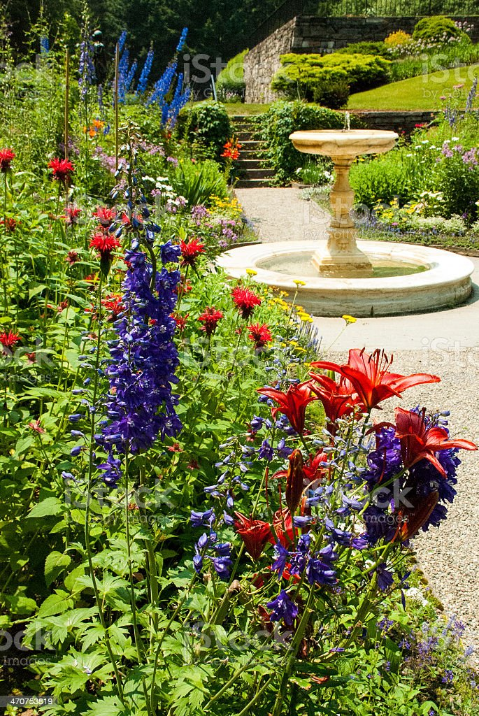 Gardens Flowers and Footpath Woodstock Vermont stock photo