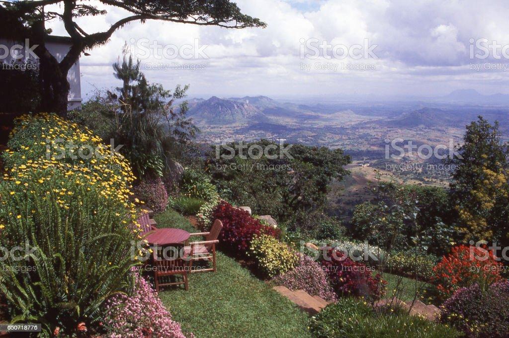 Gardens near Kuchawe Inn overlooking the Zomba Nature Reserve and Rift Valley Zomba Malawi Africa stock photo