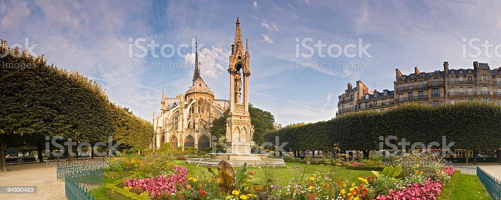 Gardens, Notre Dame, Paris royalty-free stock photo