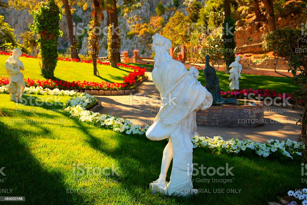 Gardens of Augustus at sunset – Capri, Bay of Naples, Italy stock photo