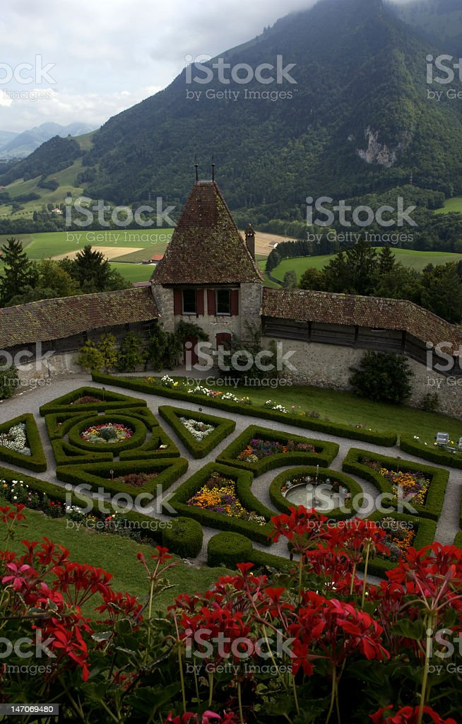 Gardens of Gruyeres Castle royalty-free stock photo