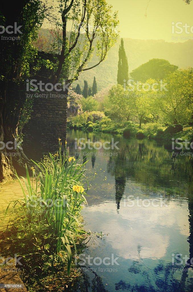 Gardens of Ninfa Latina Italy stock photo
