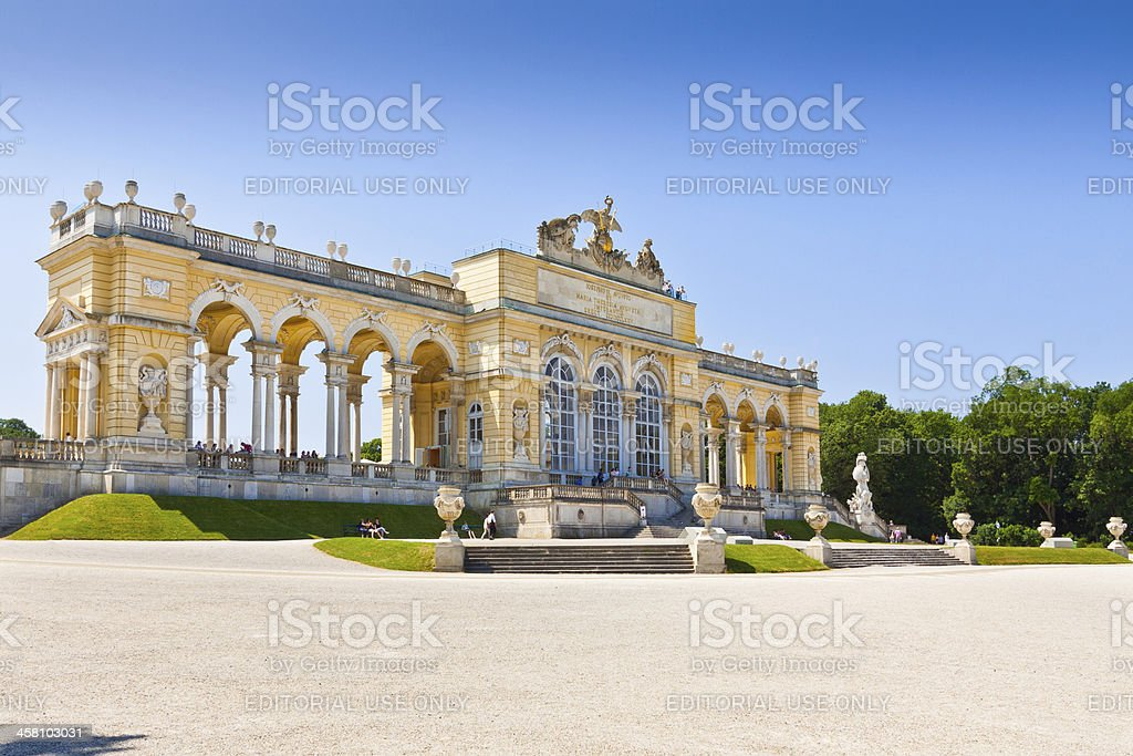 Gardens of Schonbrunn Palace, Vienna. stock photo