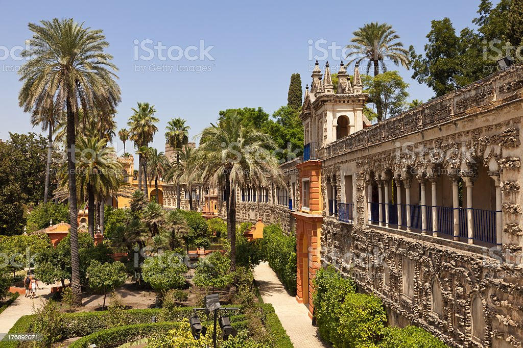 Gardens of the Royal Alcazar, Seville, Spain on a nice day royalty-free stock photo