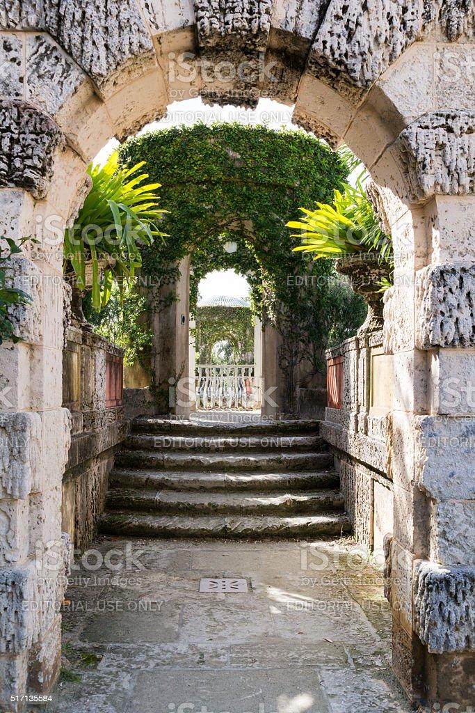 Gardens of Villa Vizcaya in Miami, Florida stock photo