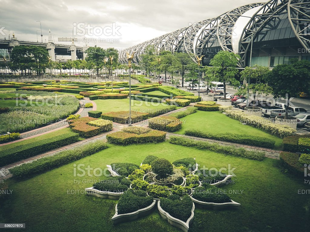 Gardens Outside Suvarnabhumi Airport, Bangkok, Thailand stock photo