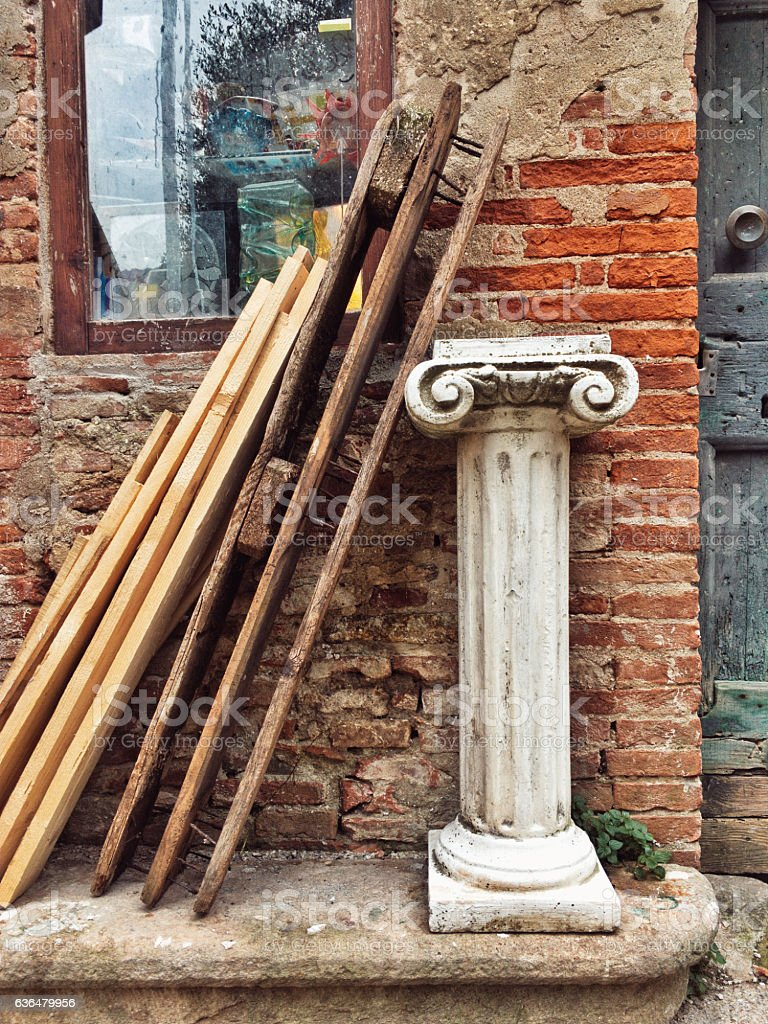 Garden-variety of a Corinthian column and its capital stock photo