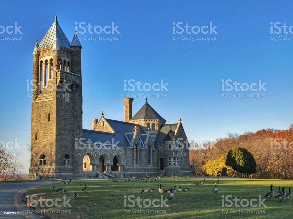 Gardner Earl Memorial Chapel, Crematorium, Oakwood Cemetery, Troy, New York stock photo