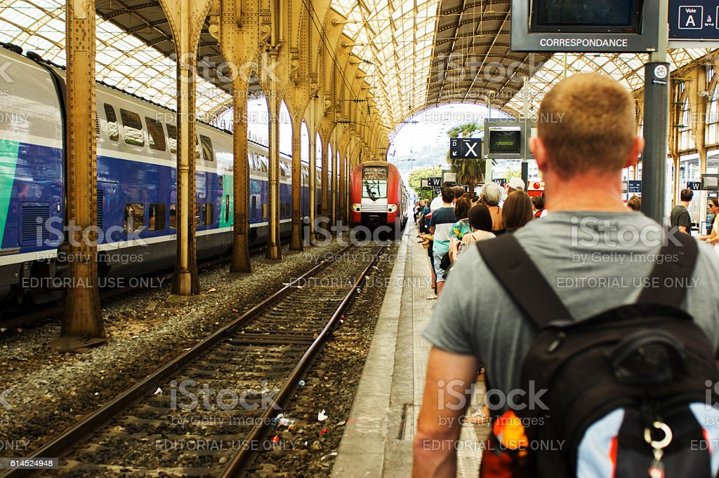 Gare de Nice Ville station platform stock photo