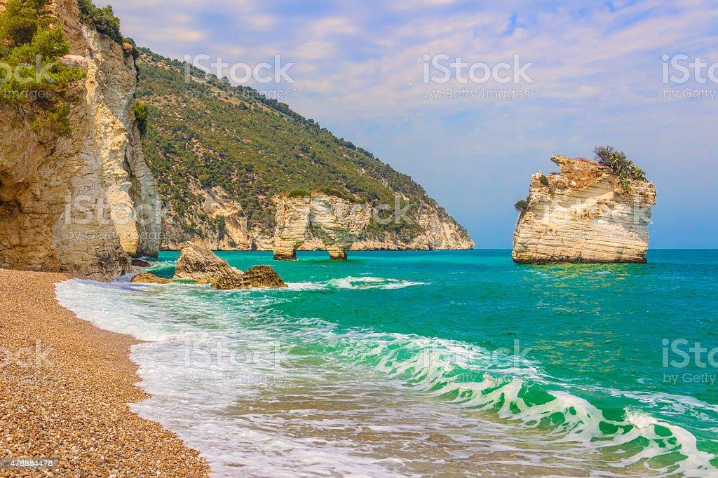 Gargano coast: Baia dei Mergoli beach .MATTINATA  (Apulia), - ITALY- stock photo