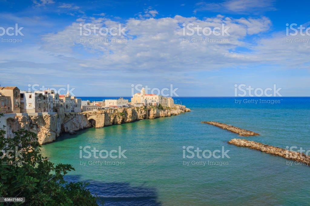 Gargano coast: bay of Vieste.-(Apulia) ITALY-View of the old city. stock photo