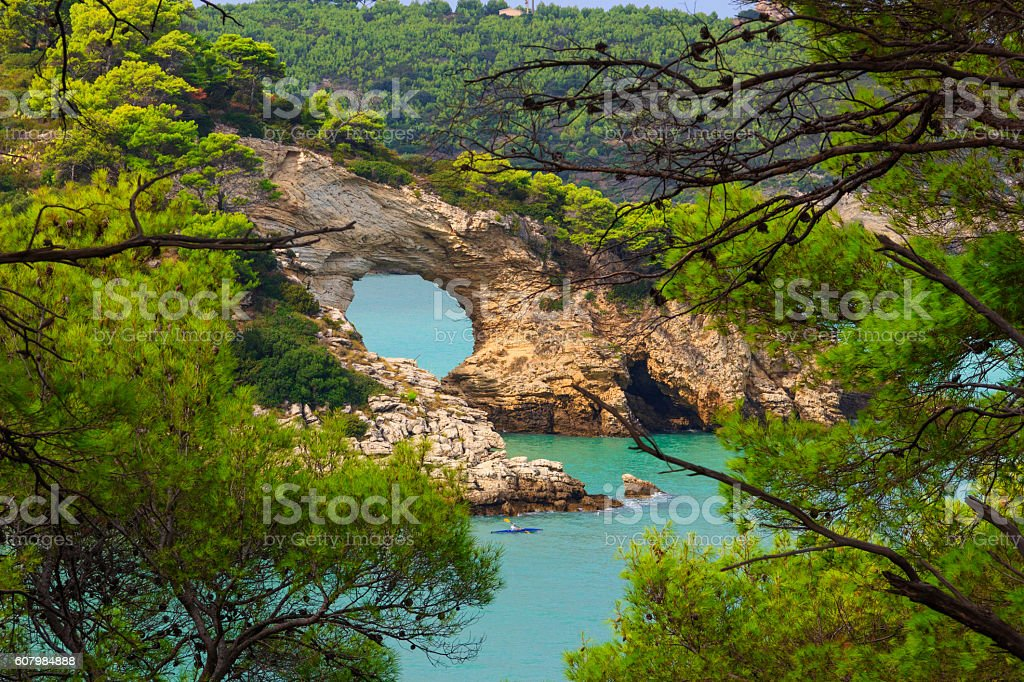 Gargano coast: San Felice arch (Architello), ITALY (Apulia). stock photo