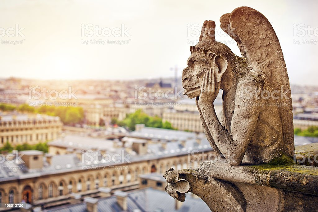Gargoyle on Notre Dame Cathedral, France royalty-free stock photo