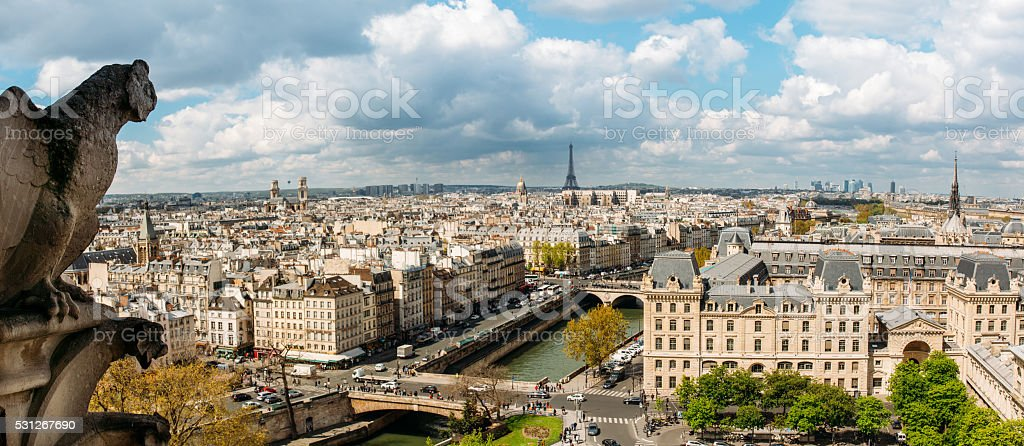 Gargoyle on Notre Dame Cathedral, France stock photo