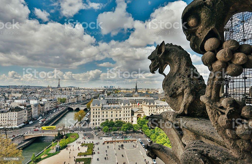 Gargoyle on Notre Dame Cathedral, France stock photo