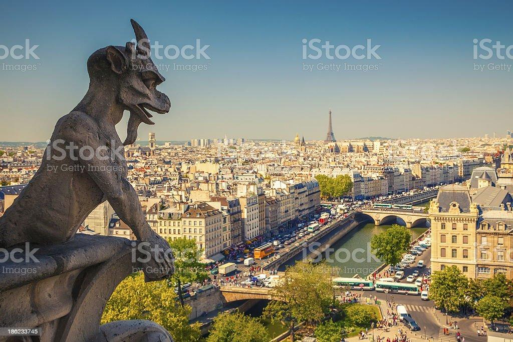 Gargoyle on Notre Dame Cathedral stock photo