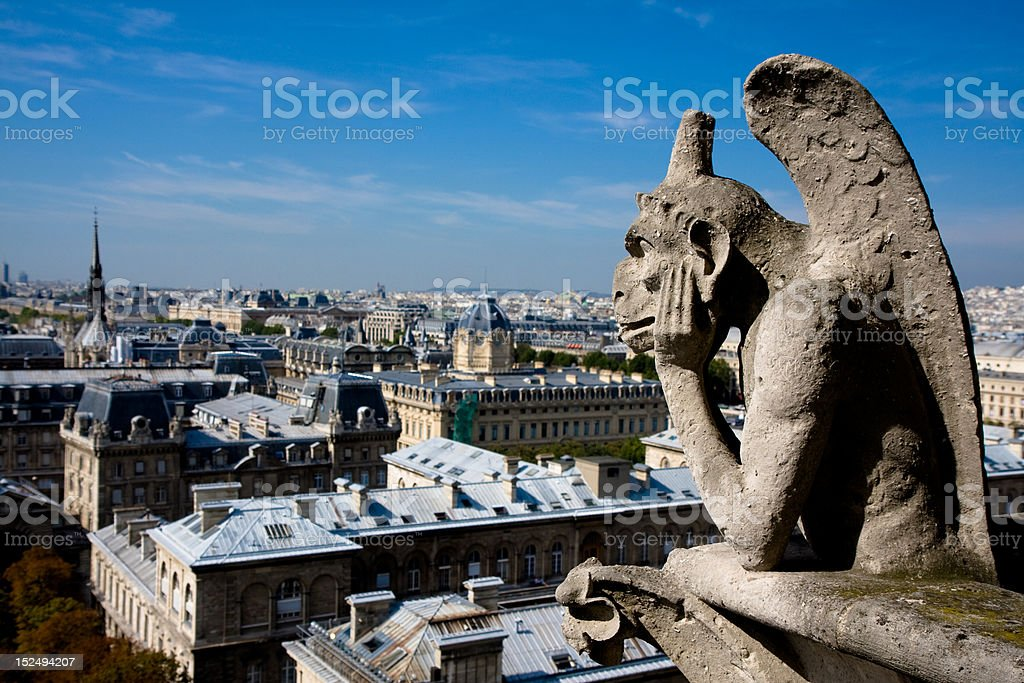 Gargoyle on Notre Dame Cathedral Towers royalty-free stock photo