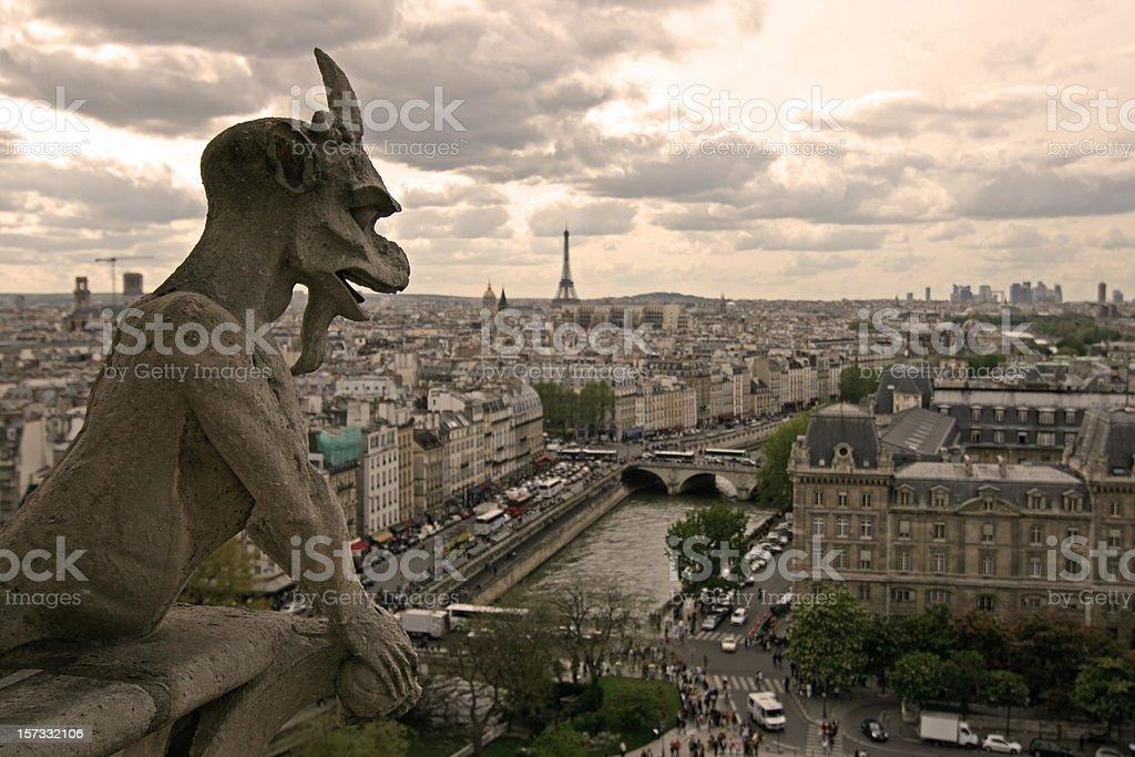 Gargoyle over Paris (Notre Dame) stock photo