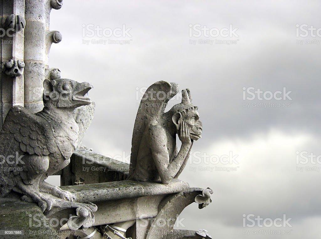 Gargoyle pair stock photo
