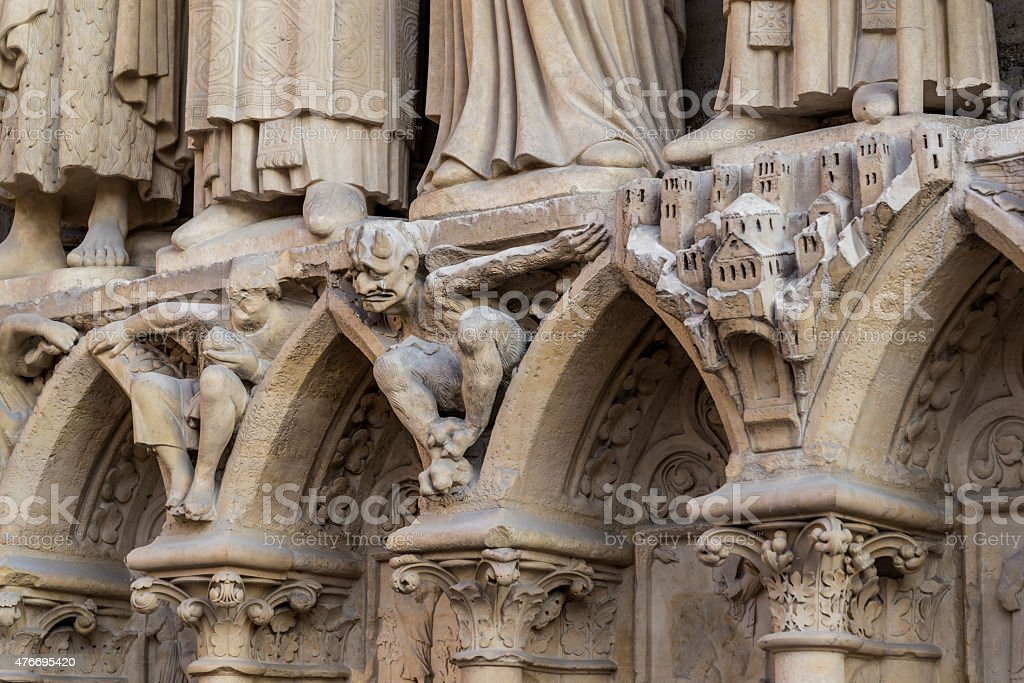 Gargoyles of the Notre Dame Cathedral in Paris, France stock photo