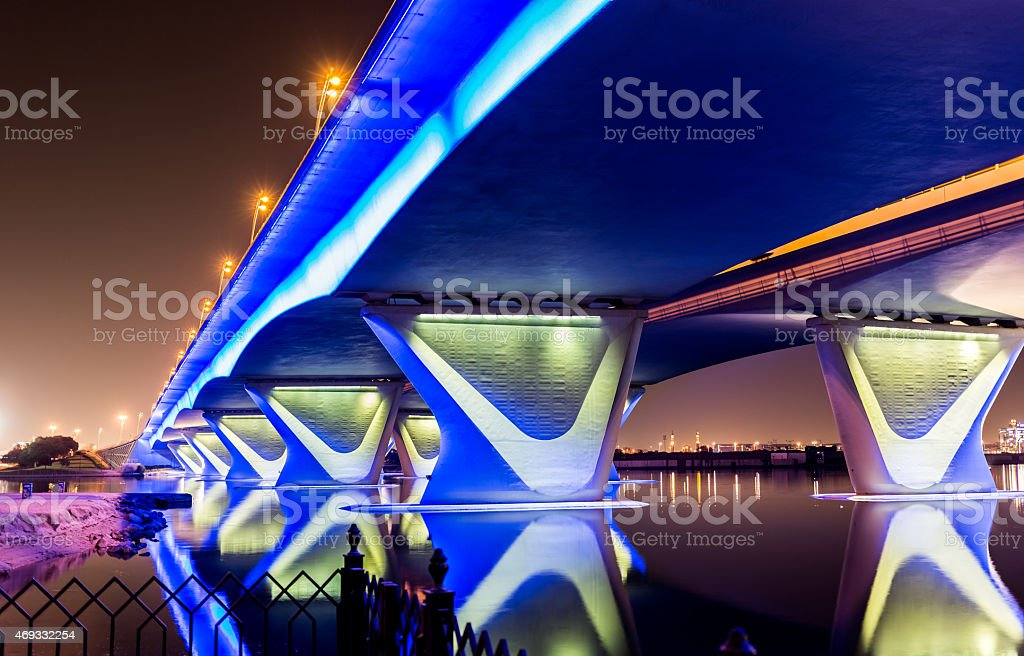 Garhoud Bridge in Dubai with Festival City in the background stock photo