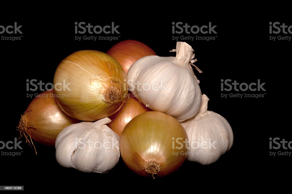 Garic and Onions on Black Background stock photo