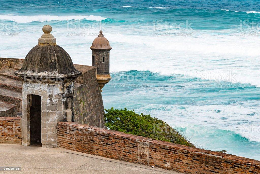 Garita (sentry box) of Castillo San Cristobal, Puerto Rico stock photo