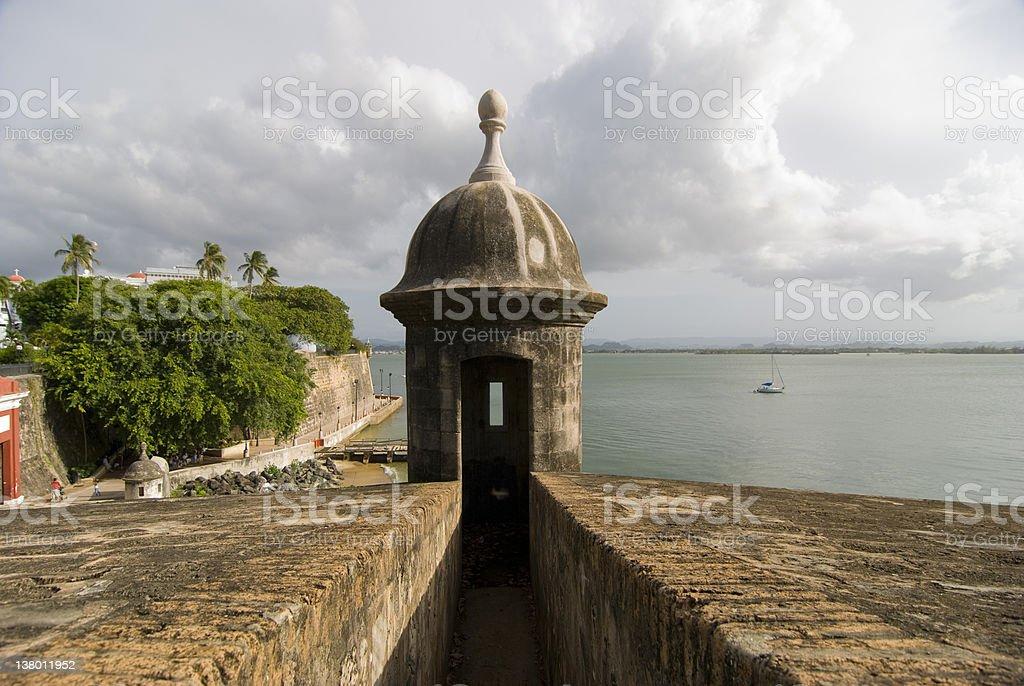 Garita overlooking outer wall of Old San Juan stock photo