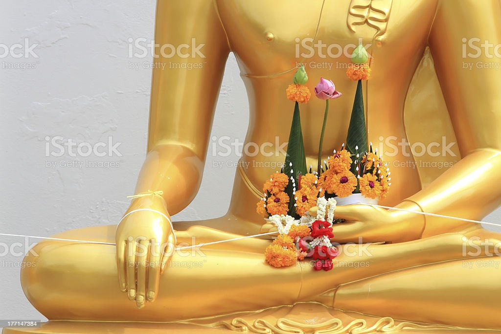 garland in gold buddha hand royalty-free stock photo