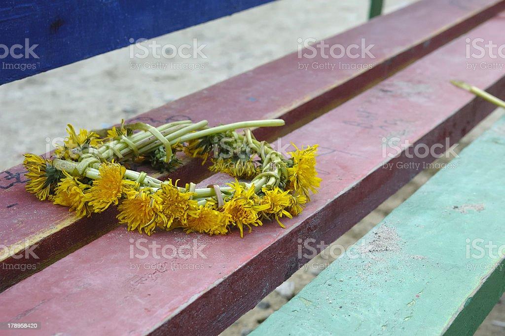 Garland of dandelions royalty-free stock photo